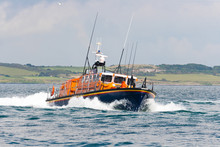 Lifeboat In Action At Sea