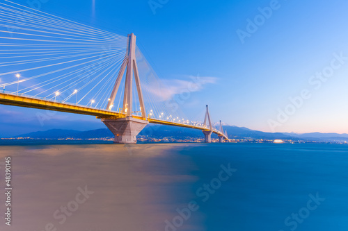 Valokuva  Greece Rio Bridge, a Suspension bridge crossing Rio and Antirio.