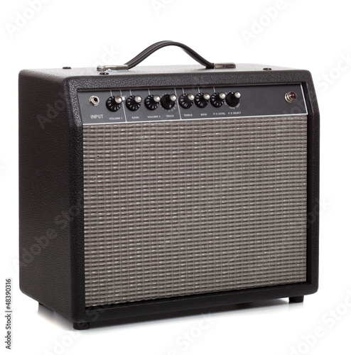 Photo A black amp on a white background