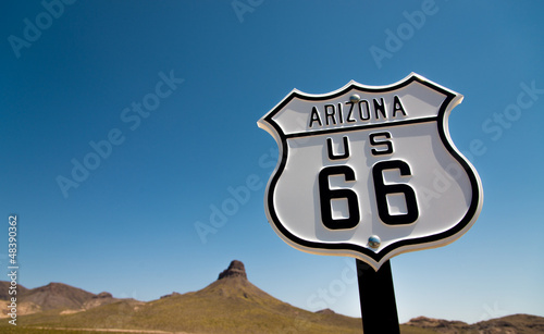 Aluminium Prints Route 66 A view of a historic Route 66 sign with a sky blue background