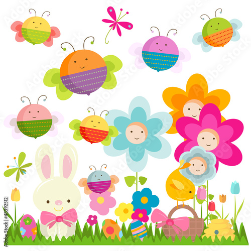 Deurstickers Vlinders easter background