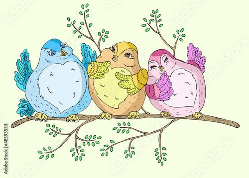Poster Vogels, bijen Spring birds