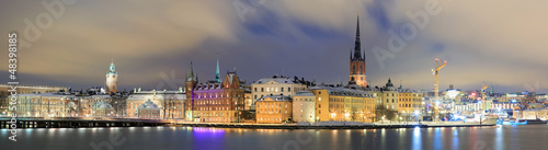 Photo  Panorama Cityscape of Gamla Stan Stockholm Sweden