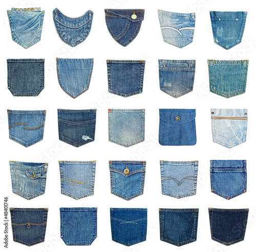 Photo collection of different jeans pocket isolated on white.