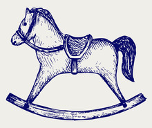 Wooden Rocking Horse. Doodle Style