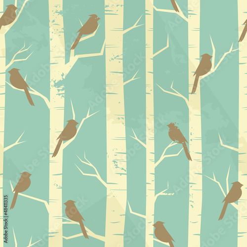 Garden Poster Birds in the forest Vintage Birch Pattern