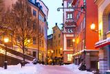 Fototapeta Uliczki - Winter in the Old Town in Stockholm, Sweden