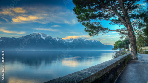 Lake Geneva Morning HDR Canvas Print