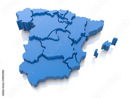 Fotografie, Obraz  Three-dimensional map of Spain. 3d