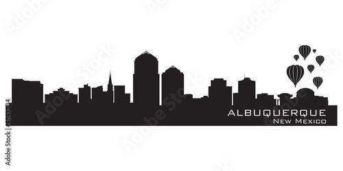 Photo Albuquerque, New Mexico skyline. Detailed silhouette.