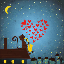 Background With Night Sky ,cat...