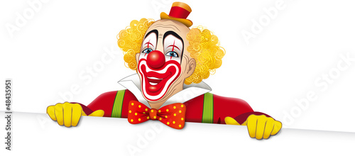 Leinwand Poster Clown sorridente con cartello bianco