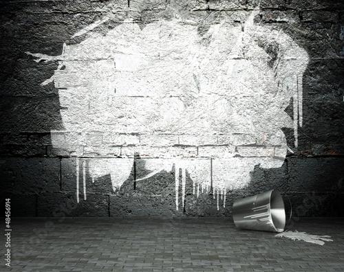 Poster Graffiti Graffiti wall with frame, street background