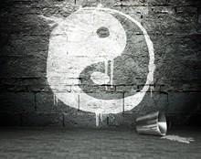 Graffiti Wall With Yin Yang, Street Background
