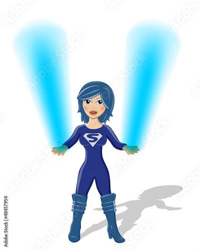 Staande foto Superheroes Supergirl Vektor mit blauem Feuer in den Händen