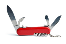 Red Swiss Army Knife Multi-tool Isolated On White Background.