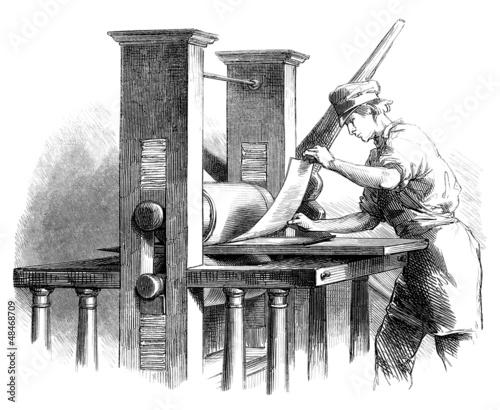 Printing Press - 19th century Wallpaper Mural