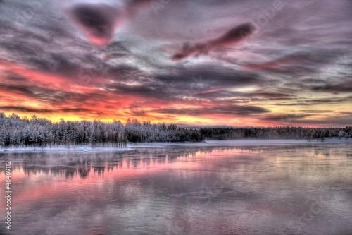 Spoed Foto op Canvas Lavendel Paysages de la Laponie finlandaise