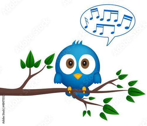 Obraz Blue bird sitting on twig, singing - fototapety do salonu
