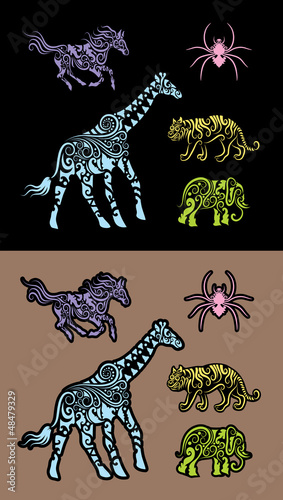 Animal floral decorative ornament, for sticker design