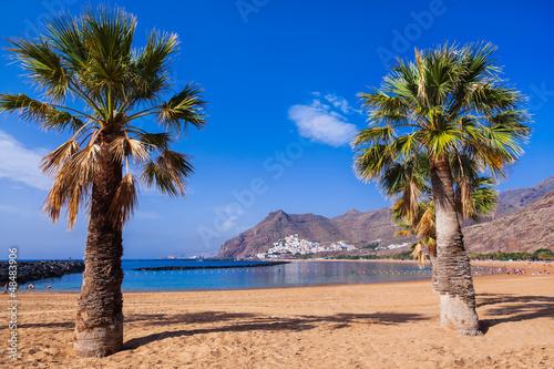 Foto-Schiebegardine Komplettsystem - Beach Teresitas in Tenerife - Canary Islands