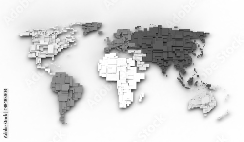 Poster Carte du monde World map, cube concept