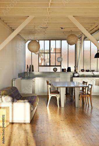 interno, sala da pranzo moderna in atelier – kaufen Sie dieses Foto ...