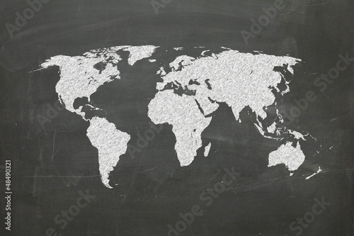 Foto op Canvas Wereldkaart world map on chalk board