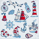 Nautical Sea Design Elements -for scrapbook and design in vector