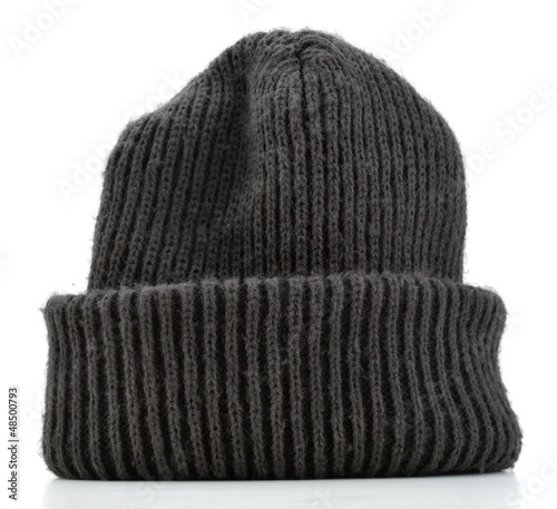 Photo Black wool beanie hat cap perfect for winter weather isolated
