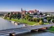 Wawel Castle, Vistula river and bridge in Krakow, Poland