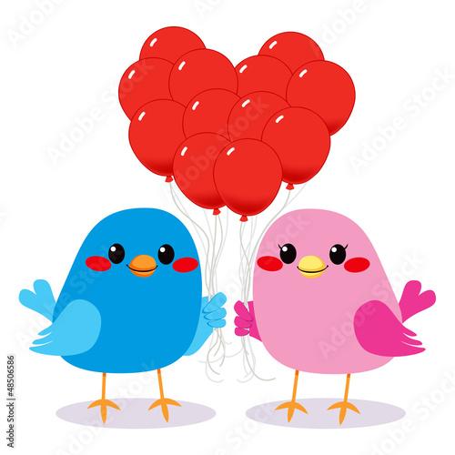 Poster Vogels, bijen Birds Love Heart Balloons