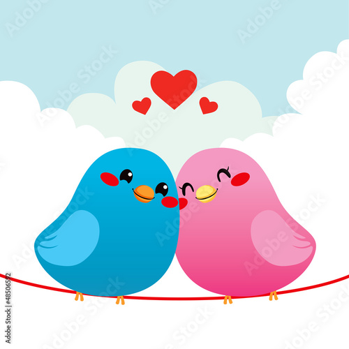 Deurstickers Vogels, bijen Loving Bird Couple