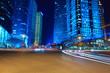 shanghai financial district at night