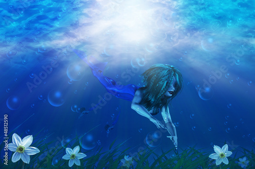Wall Murals Mermaid Mermaid in underwater world