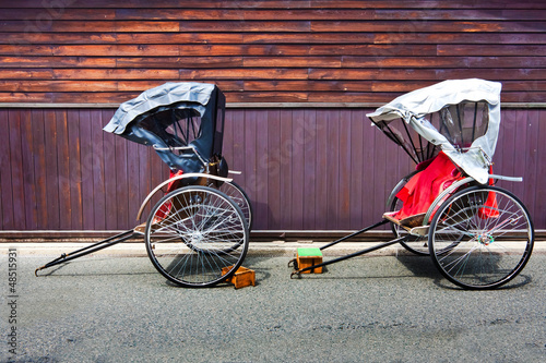 Japanese Rickshaw in the Old Town of Hida, Takayama, Japan Fototapeta