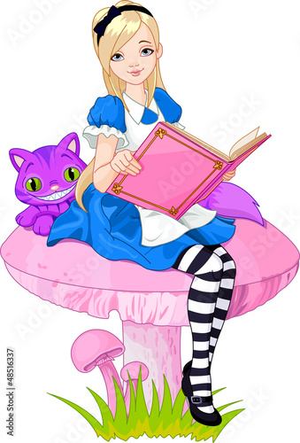 Printed kitchen splashbacks Magic world Alice holding book