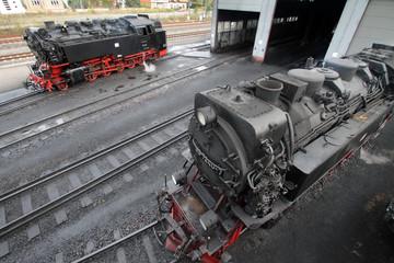 Dampfloks vor Lokschuppen