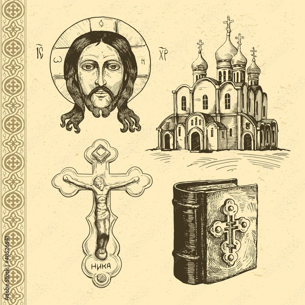 Fototapety, obrazy: Orthodox symbols hand drawn