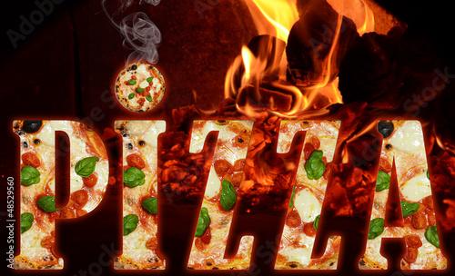 Scritta pizza nel forno a legna