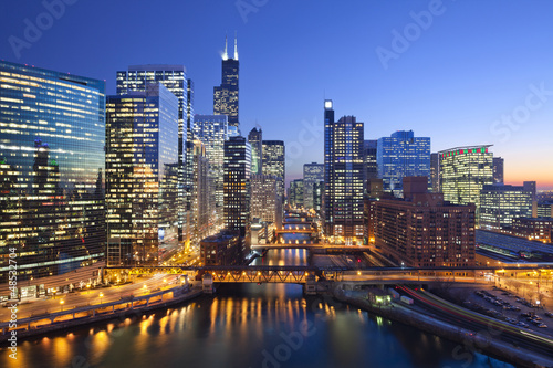Aluminium Prints Dark blue City of Chicago.