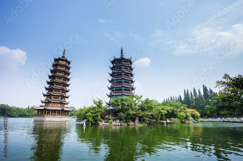 Foto op Canvas Guilin Banyan Lake Pagodas, Guilin, China ,one represents the sun,