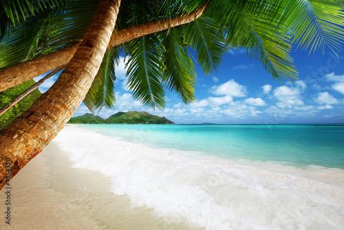 Foto-Leinwand - beach at Prtaslin island, Seychelles