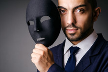 Man With Black Mask In Studio
