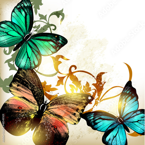 Garden Poster Butterflies in Grunge Background with butterflies and light