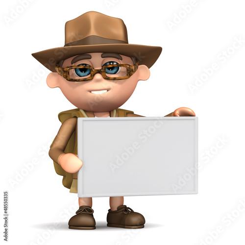 3d Explorer with blank sign Fototapet