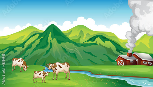 Photo sur Toile Ferme A farm house and cows