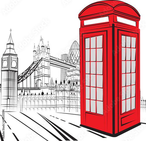 Keuken foto achterwand Rood, zwart, wit Sketch London City