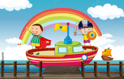In de dag Regenboog Kids playing in the ship