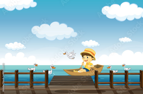 Canvas Prints River, lake A boy boating